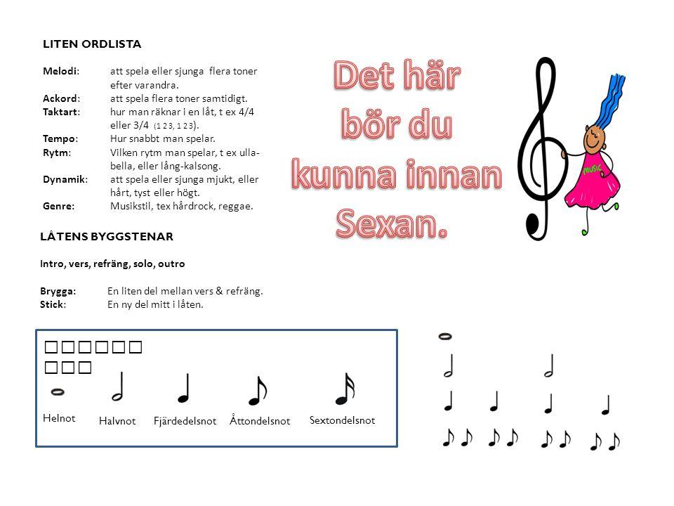 LITEN ORDLISTA Melodi:att spela eller sjunga flera toner efter varandra.