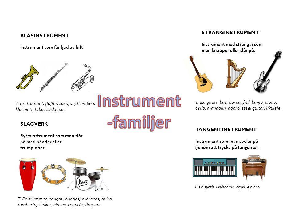 BLÅSINSTRUMENT Instrument som får ljud av luft STRÄNGINSTRUMENT Instrument med strängar som man knäpper eller slår på.