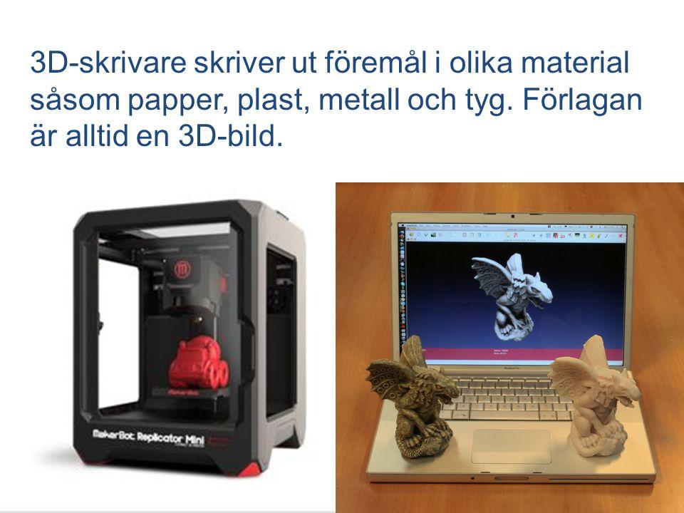3D-skrivare skriver ut föremål i olika material såsom papper, plast, metall och tyg. Förlagan är alltid en 3D-bild.