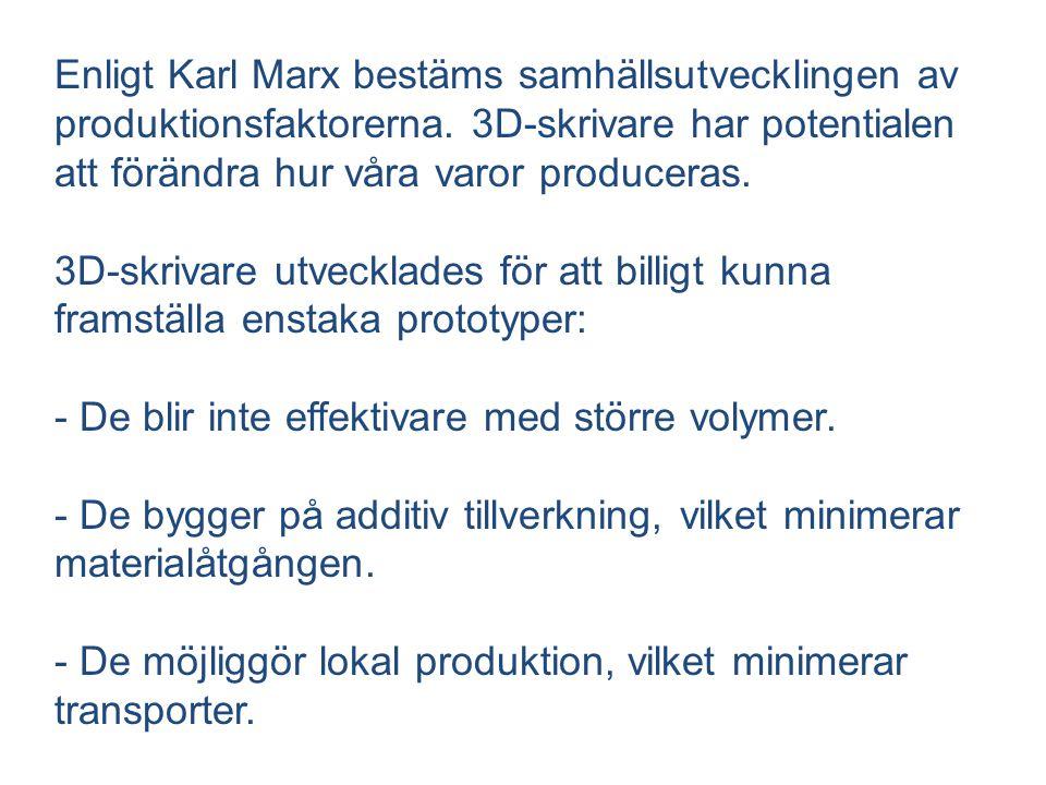 Enligt Karl Marx bestäms samhällsutvecklingen av produktionsfaktorerna. 3D-skrivare har potentialen att förändra hur våra varor produceras. 3D-skrivar