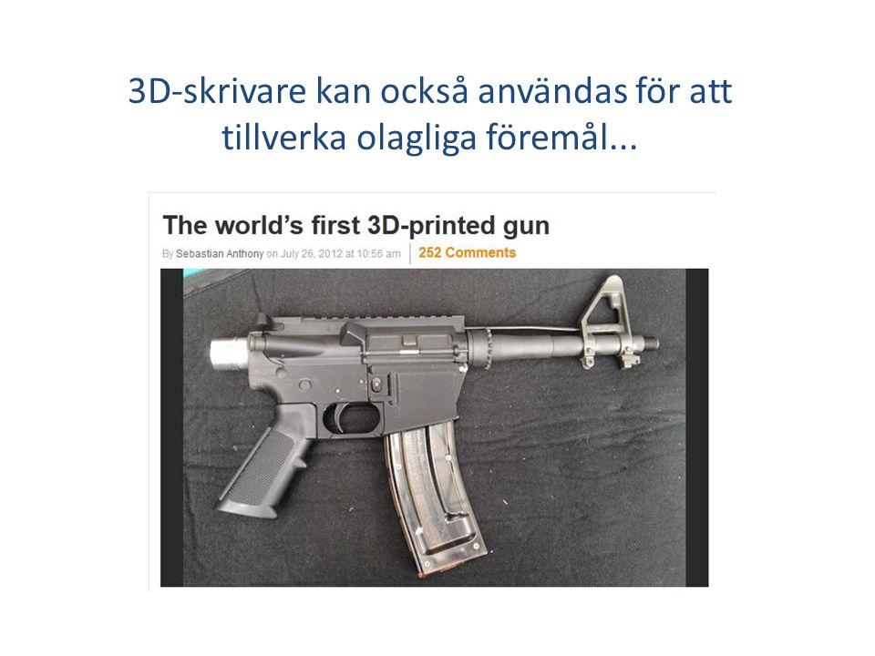3D-skrivare kan också användas för att tillverka olagliga föremål...