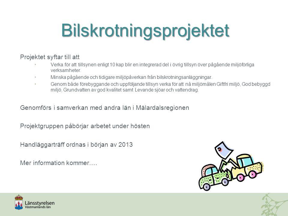 Bilskrotningsprojektet Projektet syftar till att Verka för att tillsynen enligt 10 kap blir en integrerad del i övrig tillsyn över pågående miljöförliga verksamheter.