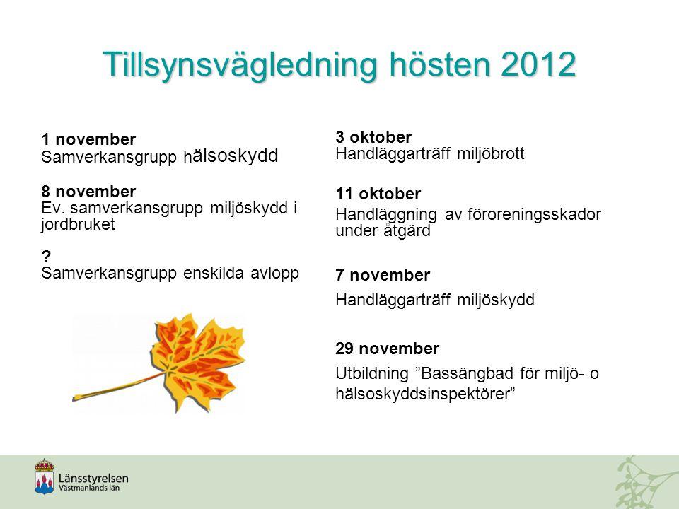 Tillsynsvägledning hösten 2012 1 november Samverkansgrupp h älsoskydd 8 november Ev.