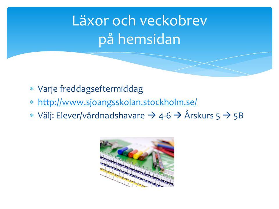  Varje freddagseftermiddag  http://www.sjoangsskolan.stockholm.se/ http://www.sjoangsskolan.stockholm.se/  Välj: Elever/vårdnadshavare  4-6  Årsk