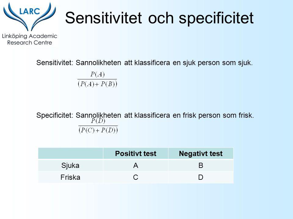 Sensitivitet: Sannolikheten att klassificera en sjuk person som sjuk. Specificitet: Sannolikheten att klassificera en frisk person som frisk. Positivt