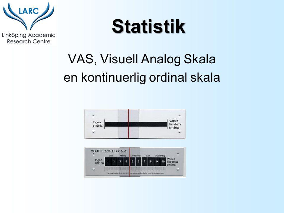 VAS, Visuell Analog Skala en kontinuerlig ordinal skala Statistik