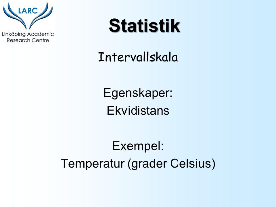 Intervallskala Egenskaper: Ekvidistans Exempel: Temperatur (grader Celsius) Statistik