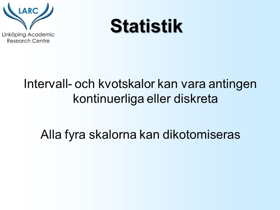 Intervall- och kvotskalor kan vara antingen kontinuerliga eller diskreta Alla fyra skalorna kan dikotomiseras Statistik