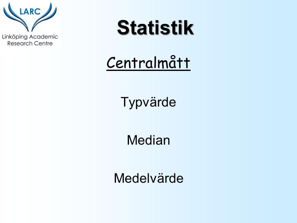 Centralmått Typvärde Median Medelvärde Statistik
