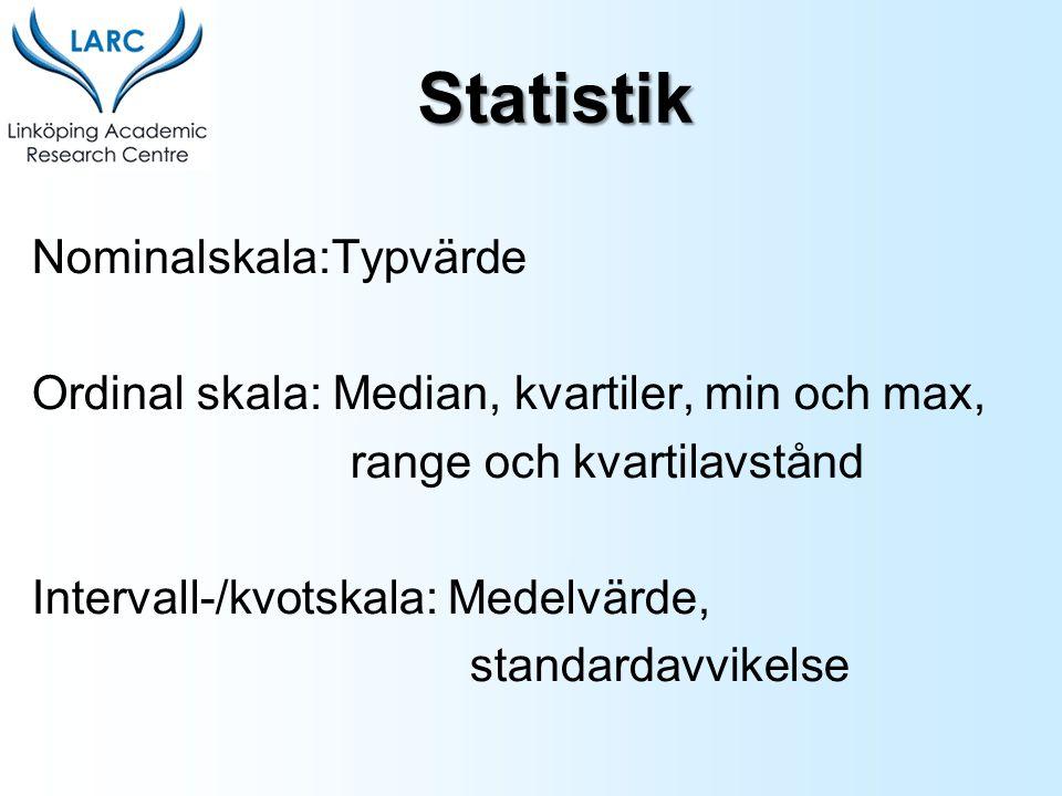Nominalskala:Typvärde Ordinal skala: Median, kvartiler, min och max, range och kvartilavstånd Intervall-/kvotskala: Medelvärde, standardavvikelse Stat