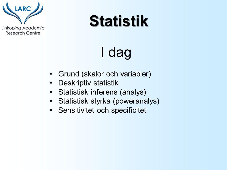 I dag Grund (skalor och variabler) Deskriptiv statistik Statistisk inferens (analys) Statistisk styrka (poweranalys) Sensitivitet och specificitet Sta