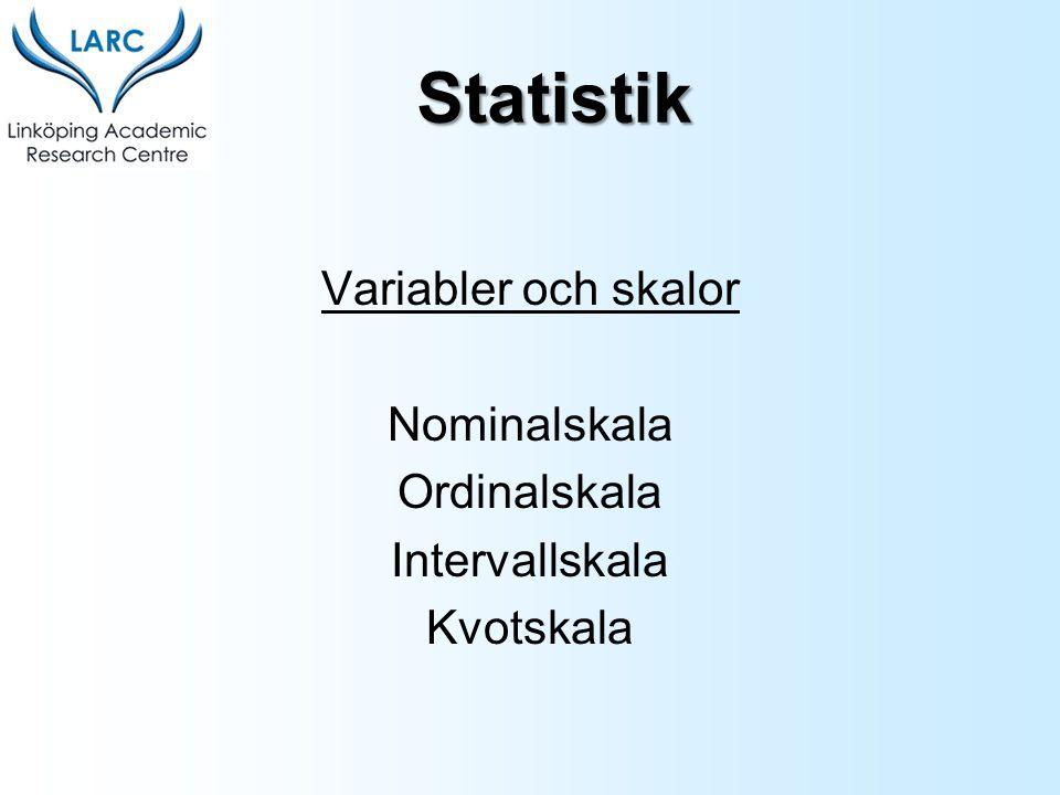 Variabler och skalor Nominalskala Ordinalskala Intervallskala Kvotskala Statistik