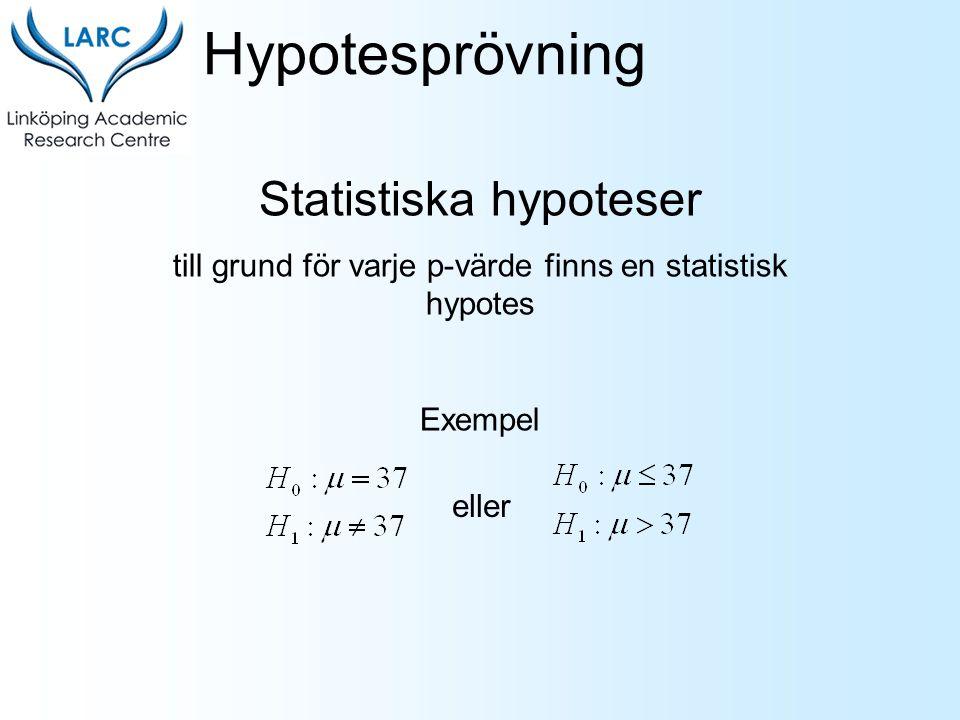 Statistiska hypoteser till grund för varje p-värde finns en statistisk hypotes Exempel Hypotesprövning eller
