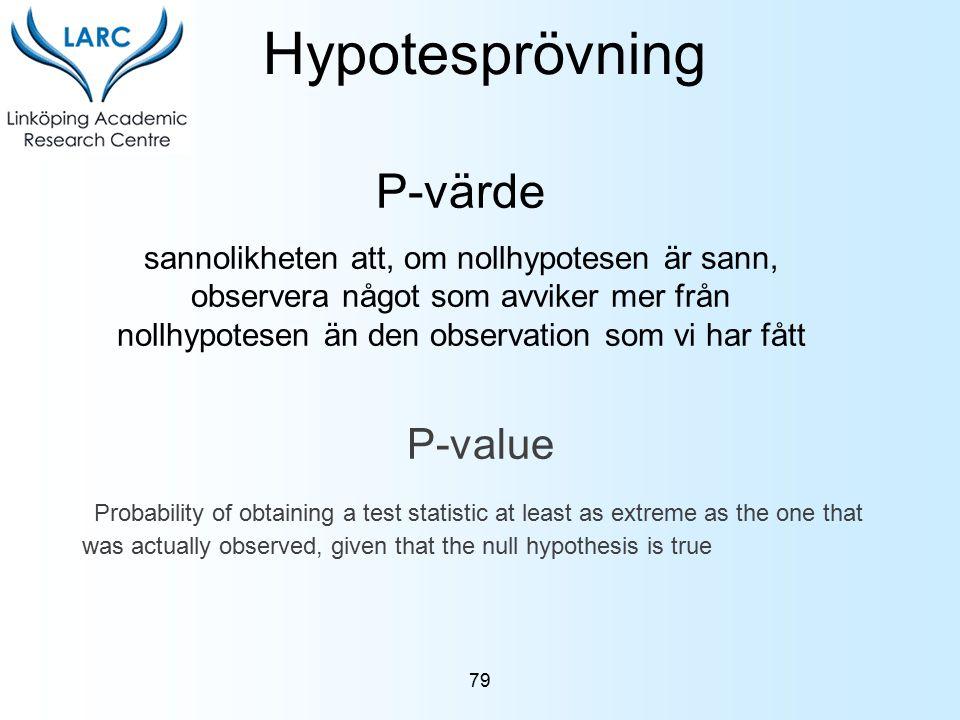 P-värde sannolikheten att, om nollhypotesen är sann, observera något som avviker mer från nollhypotesen än den observation som vi har fått Hypotespröv