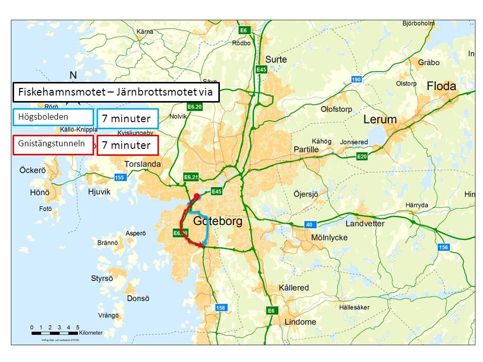 7 minuter Fiskehamnsmotet – Järnbrottsmotet via Högsboleden Gnistängstunneln