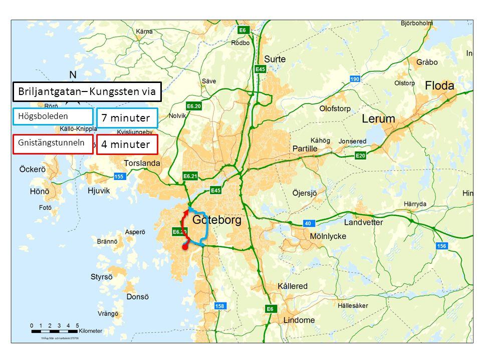 7 minuter 4 minuter Briljantgatan– Kungssten via Högsboleden Gnistängstunneln