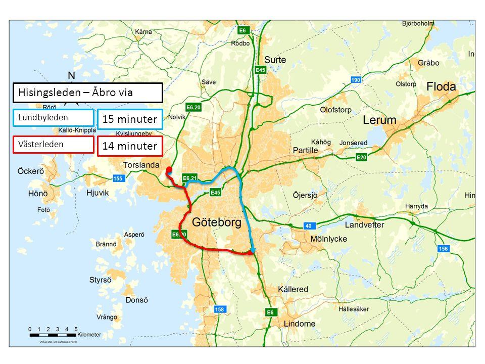 15 minuter 14 minuter Hisingsleden – Åbro via Lundbyleden Västerleden