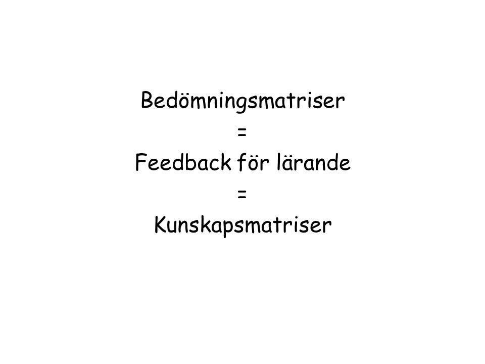 Bedömningsmatriser = Feedback för lärande = Kunskapsmatriser