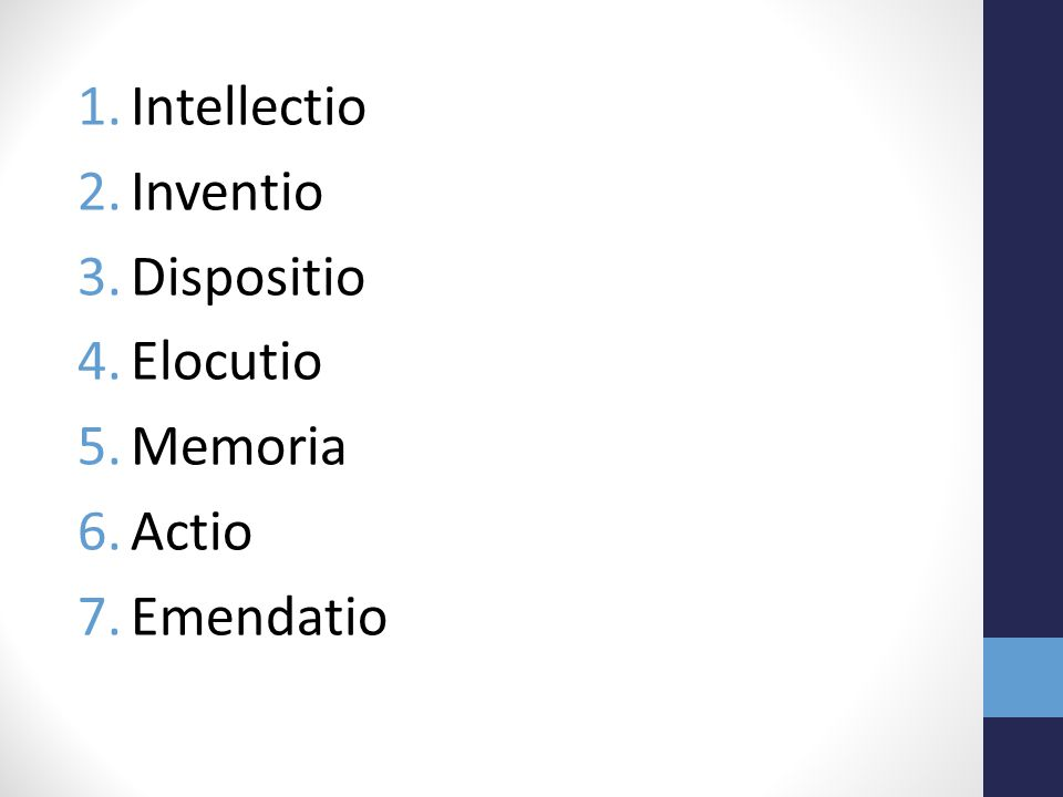1.Intellectio 2.Inventio 3.Dispositio 4.Elocutio 5.Memoria 6.Actio 7.Emendatio