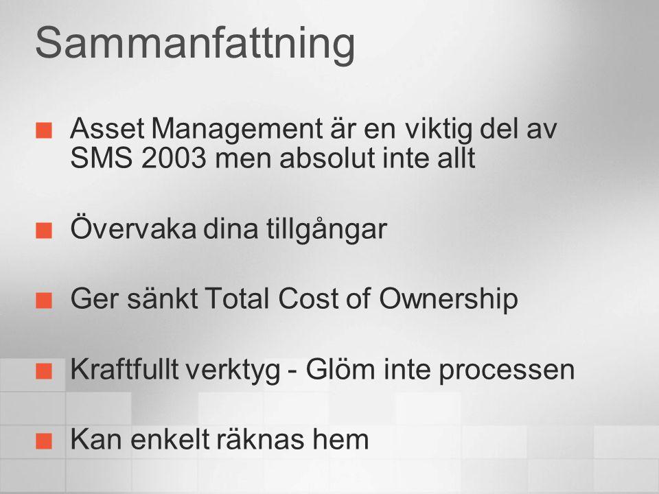 Sammanfattning Asset Management är en viktig del av SMS 2003 men absolut inte allt Övervaka dina tillgångar Ger sänkt Total Cost of Ownership Kraftful