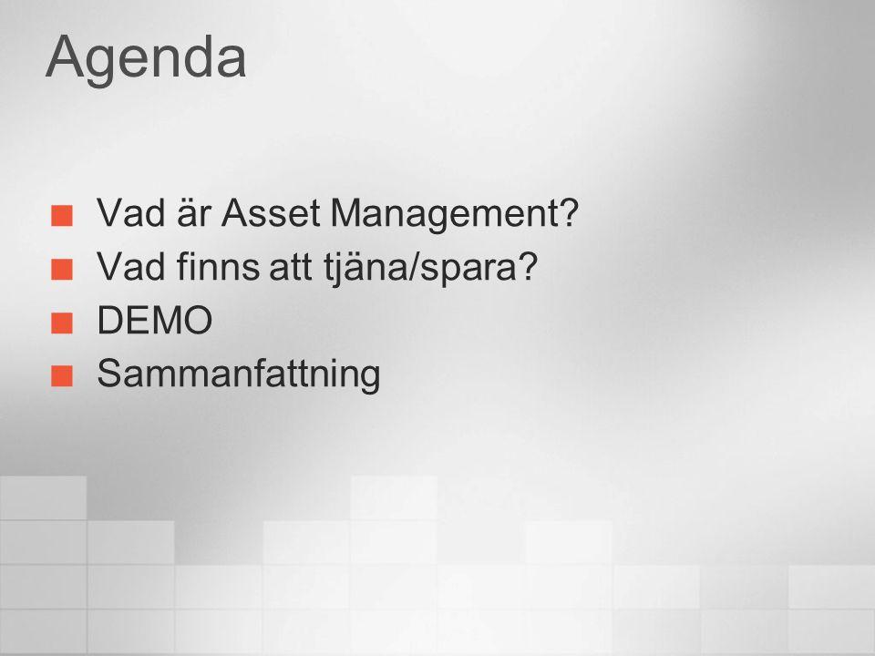 Agenda Vad är Asset Management? Vad finns att tjäna/spara? DEMO Sammanfattning