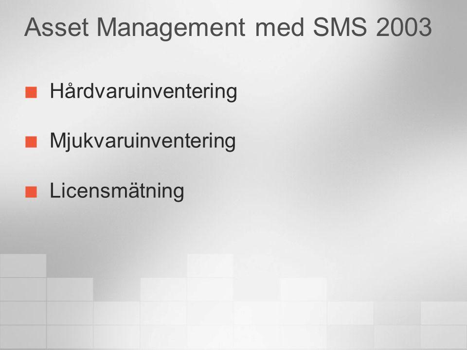 Asset Management med SMS 2003 Hårdvaruinventering Mjukvaruinventering Licensmätning