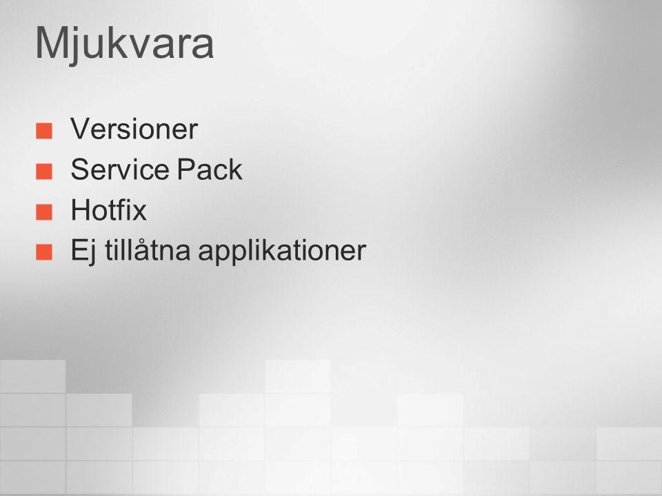 Mjukvara Versioner Service Pack Hotfix Ej tillåtna applikationer