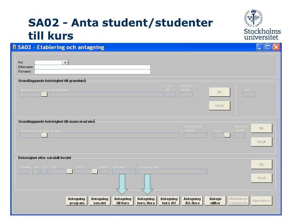 SA02 - Anta student/studenter till kurs