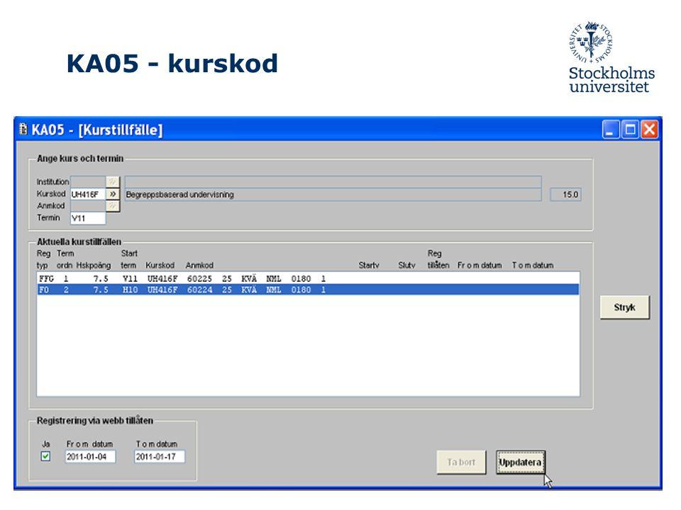 KA05 - kurskod