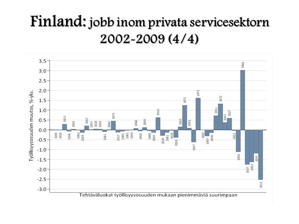 Finland: jobb inom privata servicesektorn 2002-2009 (4/4)