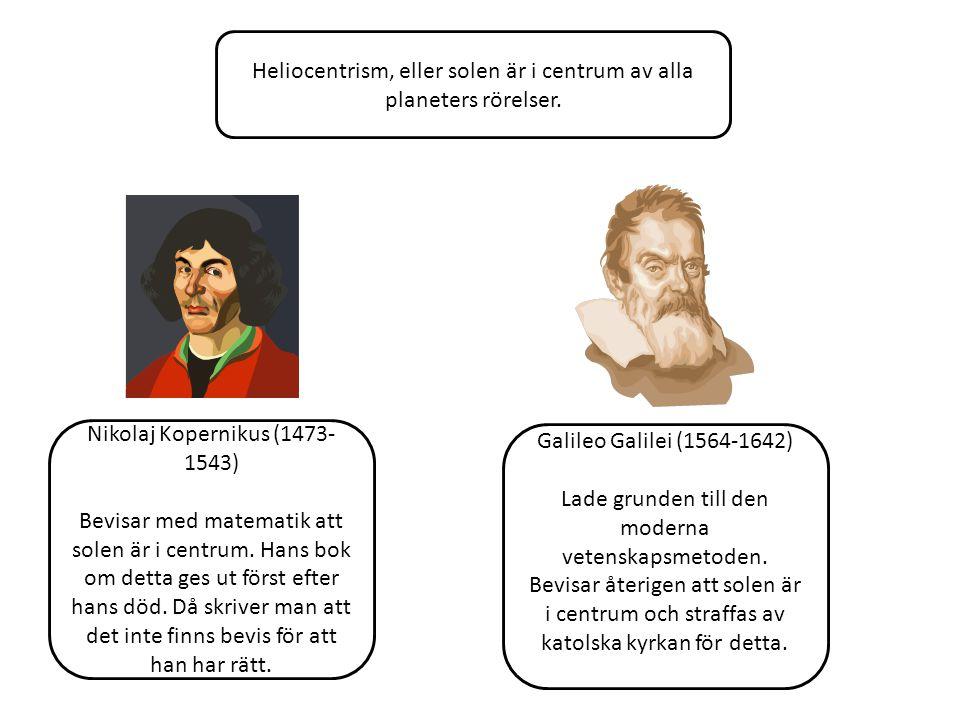 Heliocentrism, eller solen är i centrum av alla planeters rörelser. Nikolaj Kopernikus (1473- 1543) Bevisar med matematik att solen är i centrum. Hans