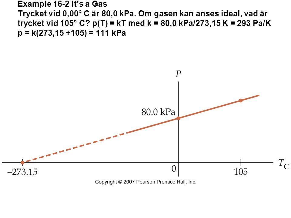 Example 16-2 It's a Gas Trycket vid 0,00° C är 80,0 kPa.