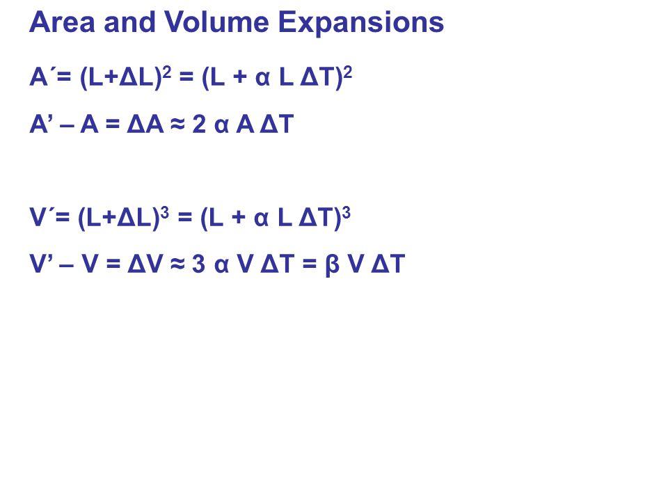 Area and Volume Expansions A´= (L+ΔL) 2 = (L + α L ΔT) 2 A' – A = ΔA ≈ 2 α A ΔT V´= (L+ΔL) 3 = (L + α L ΔT) 3 V' – V = ΔV ≈ 3 α V ΔT = β V ΔT