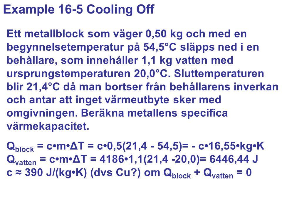 Ett metallblock som väger 0,50 kg och med en begynnelsetemperatur på 54,5°C släpps ned i en behållare, som innehåller 1,1 kg vatten med ursprungstemperaturen 20,0°C.