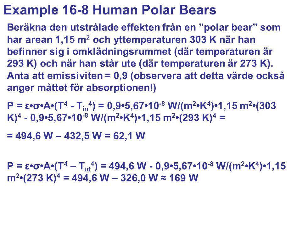 Beräkna den utstrålade effekten från en polar bear som har arean 1,15 m 2 och yttemperaturen 303 K när han befinner sig i omklädningsrummet (där temperaturen är 293 K) och när han står ute (där temperaturen är 273 K).