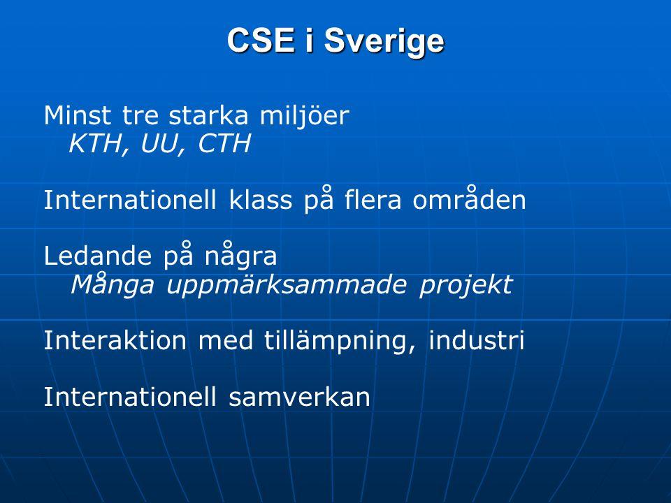 CSE i Sverige Minst tre starka miljöer KTH, UU, CTH Internationell klass på flera områden Ledande på några Många uppmärksammade projekt Interaktion med tillämpning, industri Internationell samverkan