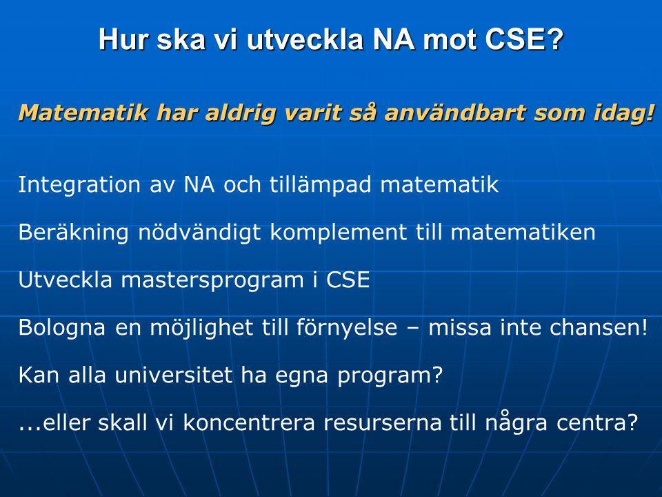 Hur ska vi utveckla NA mot CSE. Matematik har aldrig varit så användbart som idag.