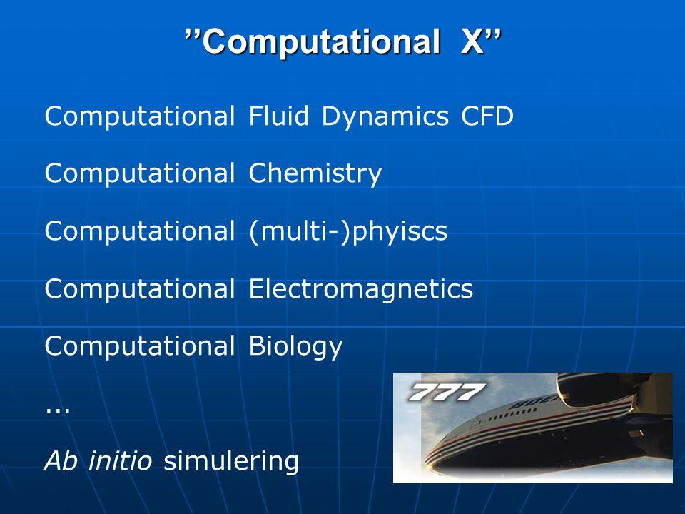 ''Computational X'' Computational Fluid Dynamics CFD Computational Chemistry Computational (multi-)phyiscs Computational Electromagnetics Computational Biology...