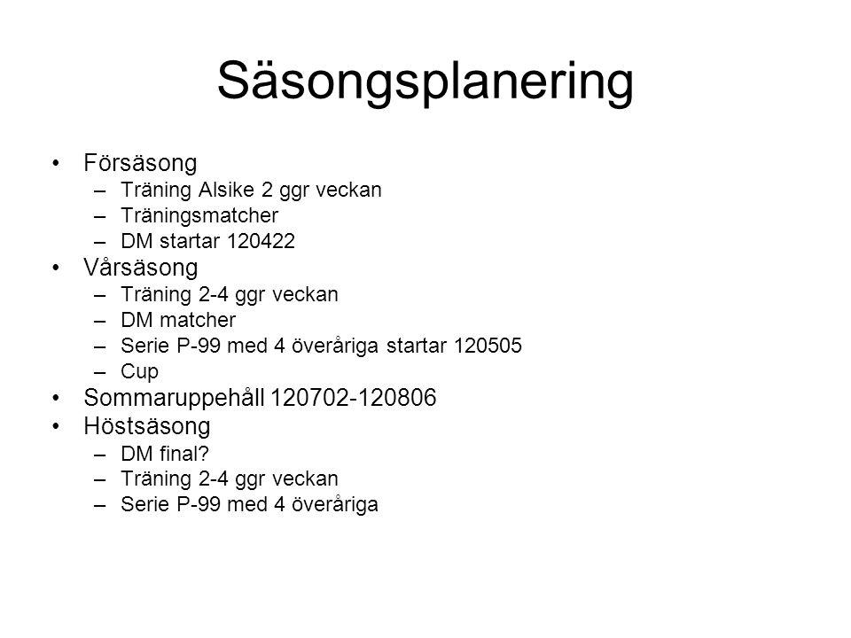 Säsongsplanering Försäsong –Träning Alsike 2 ggr veckan –Träningsmatcher –DM startar 120422 Vårsäsong –Träning 2-4 ggr veckan –DM matcher –Serie P-99