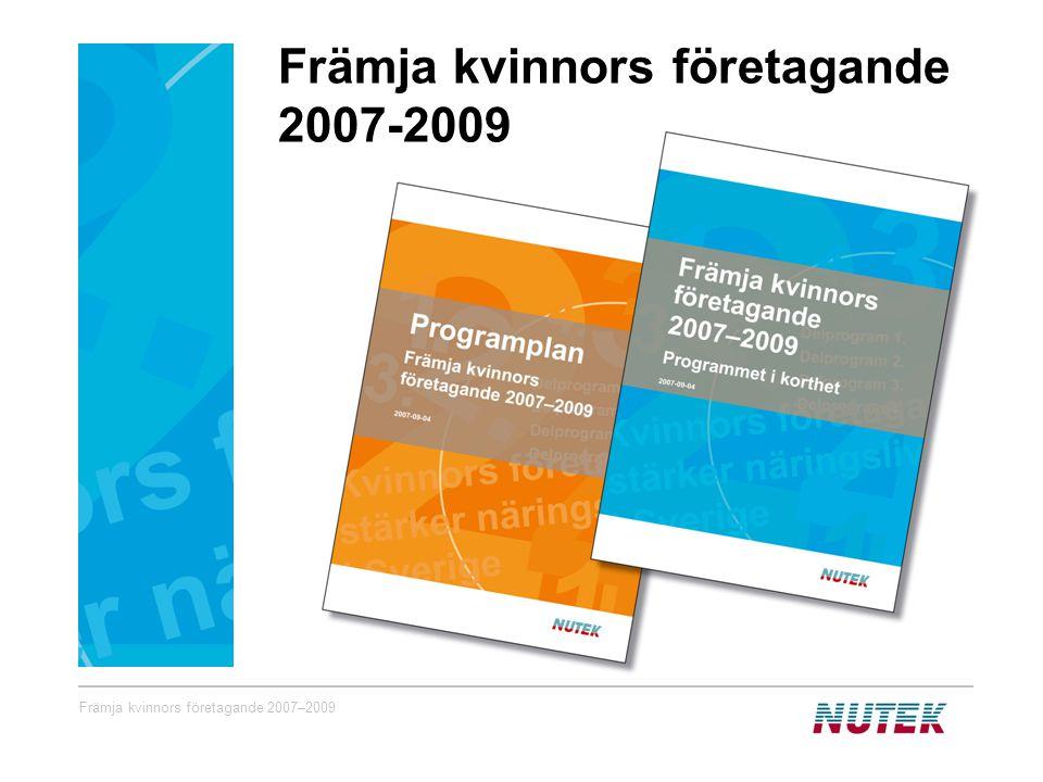 Främja kvinnors företagande 2007–2009 Främja kvinnors företagande 2007-2009