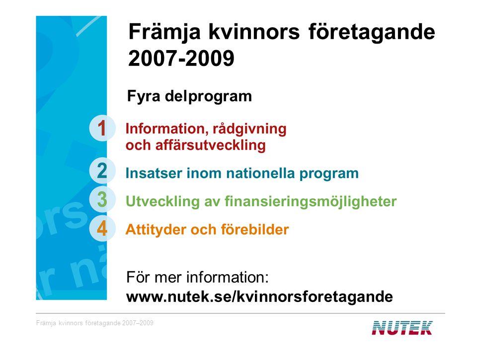 Främja kvinnors företagande 2007–2009 Fyra delprogram För mer information: www.nutek.se/kvinnorsforetagande Främja kvinnors företagande 2007-2009