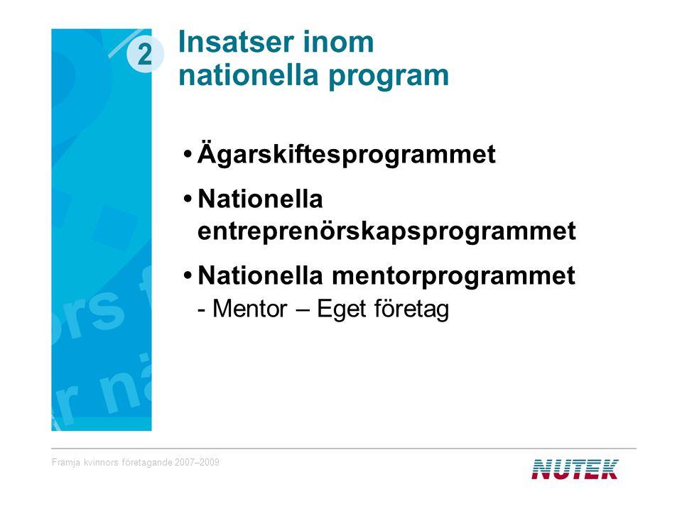 Främja kvinnors företagande 2007–2009 Ägarskiftesprogrammet Nationella entreprenörskapsprogrammet Nationella mentorprogrammet - Mentor – Eget företag