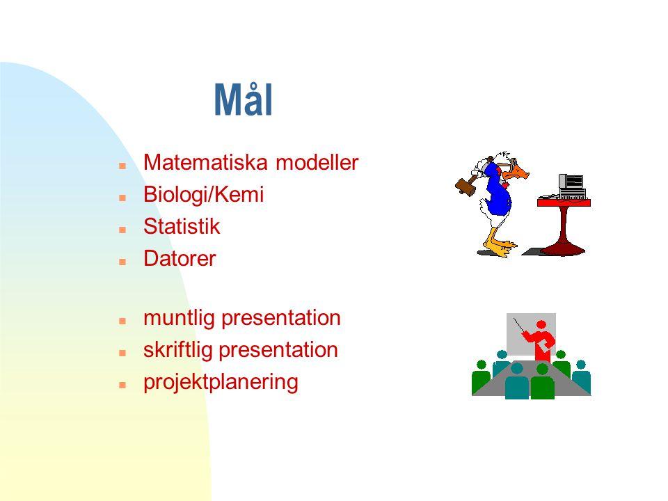 Mål n Matematiska modeller n Biologi/Kemi n Statistik n Datorer n muntlig presentation n skriftlig presentation n projektplanering