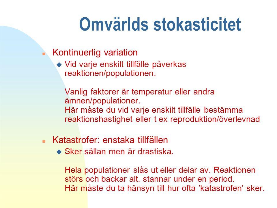Omvärlds stokasticitet n Kontinuerlig variation u Vid varje enskilt tillfälle påverkas reaktionen/populationen.