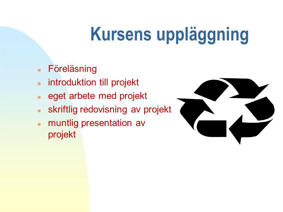 Kursens uppläggning n Föreläsning n introduktion till projekt n eget arbete med projekt n skriftlig redovisning av projekt n muntlig presentation av projekt