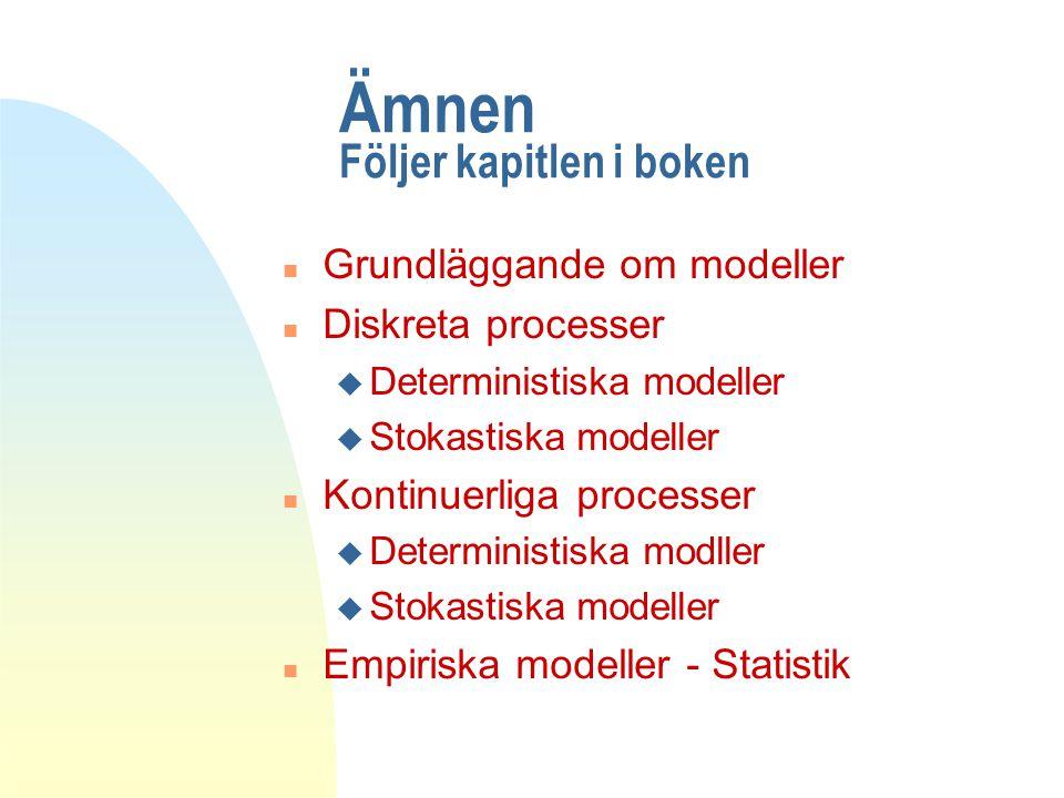 Ämnen Följer kapitlen i boken n Grundläggande om modeller n Diskreta processer u Deterministiska modeller u Stokastiska modeller n Kontinuerliga processer u Deterministiska modller u Stokastiska modeller n Empiriska modeller - Statistik
