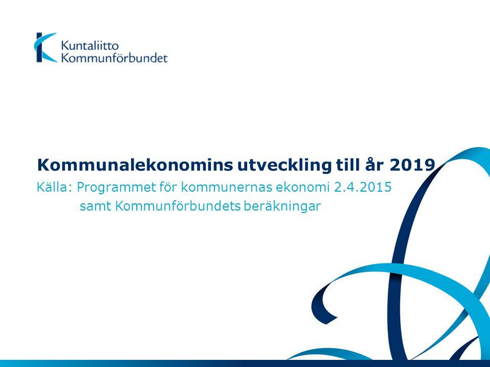 Kommunalekonomins utveckling till år 2019 Källa: Programmet för kommunernas ekonomi 2.4.2015 samt Kommunförbundets beräkningar