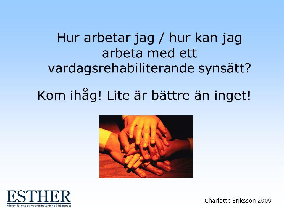 Charlotte Eriksson 2009 Hur arbetar jag / hur kan jag arbeta med ett vardagsrehabiliterande synsätt? Kom ihåg! Lite är bättre än inget!