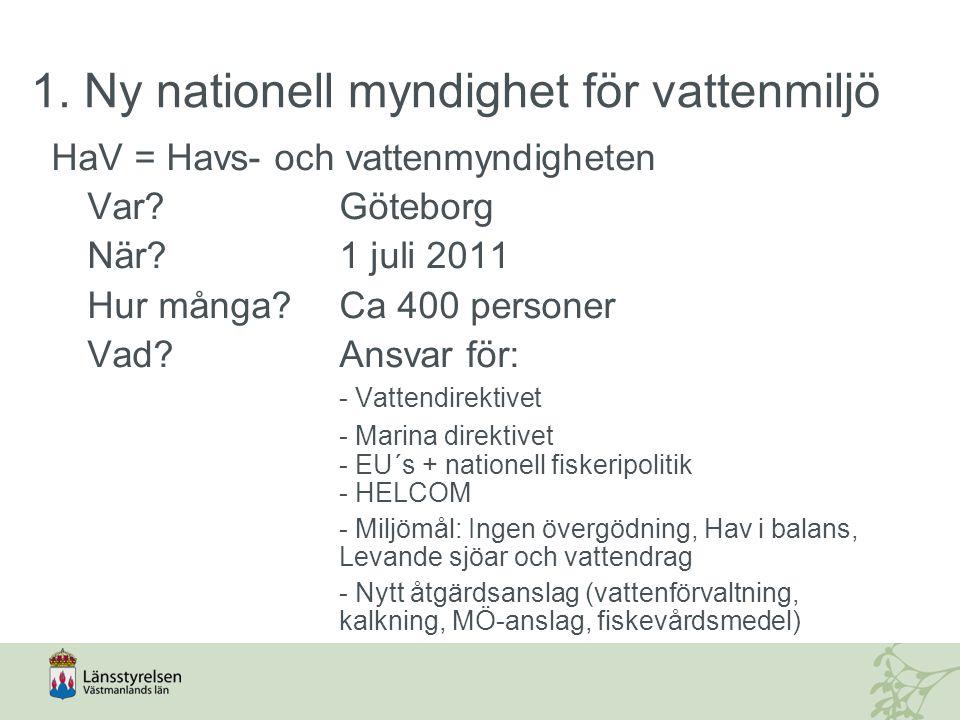 1. Ny nationell myndighet för vattenmiljö HaV = Havs- och vattenmyndigheten Var?Göteborg När?1 juli 2011 Hur många?Ca 400 personer Vad? Ansvar för: -