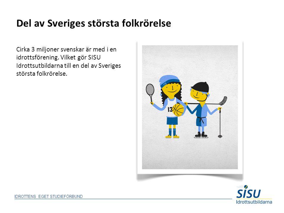 Del av Sveriges största folkrörelse Cirka 3 miljoner svenskar är med i en idrottsförening. Vilket gör SISU Idrottsutbildarna till en del av Sveriges s